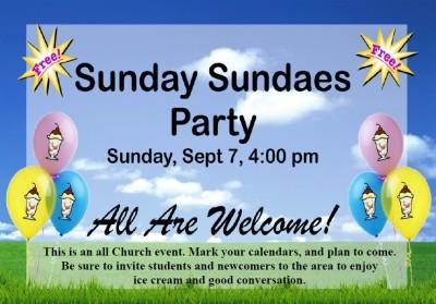 Sunday Sundaes — September 7th, 4:00 PM